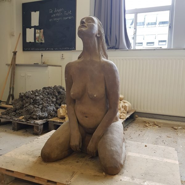 Magdalena 1 a Goddess Prayer Marieke Ploeg Clay Sculpture Lifesize
