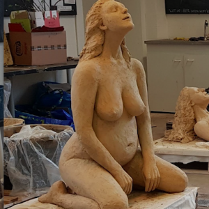 Magdalena II a Goddess Prayer Marieke Ploeg Clay Sculpture Lifesize