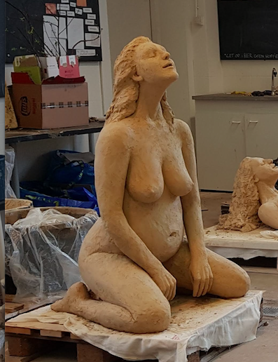 Magdalena II a Goddess Prayer Marieke Ploeg Clay Sculpture Lifesize